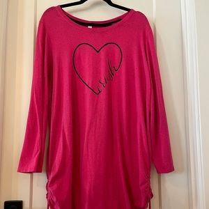 EUC Cacique Hot Pink Heart CRUSH Long Sleeve Gown